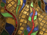 Close-up of an Intricate Colorful Mosaic Stained Glass Window