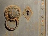 Close-up of a Metal Door with a Rusty Lion Door Knocker and Keyhole