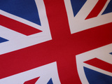 Close-up of the British Flag with Red White and Blue Detail