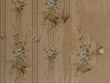 Close-up of Old-Fashioned Wallpaper with Little Blue Flowers