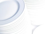 Bright White Stacks of Plates and Dishes