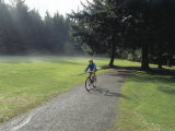 Person Cycling on a Path in a Park