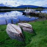 Upturned Rowing Boats Near Pier at Beagle Channel  Estancia Harberon  Argentina