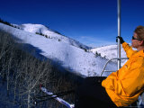 Catching the Chairlift to the Canyons in Park City  Utah  USA