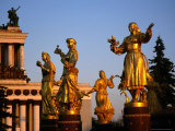 Golden Statues of Women at All-Russian Exhibition Centre  Moscow  Russia