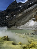 Sulfurous Geysers in the Crater of Mt Mutnovskaya  Kamchata  Russia