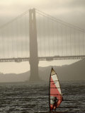 Windsurfer Sails Through Waters on San Francisco Bay  San Francisco  California  USA