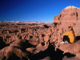 Hiker at Viewpoint Overlooking Goblin Valley State Park  Utah  USA