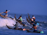 Fishermen Paddle Their Cabillitos De Totora Reed Boats Out Through Waves  Pimentel  Peru