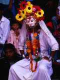 Masked Character During Dasain Celebrations  Patan  Nepal