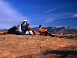 A Couple Camping on Slickrock in Moab  Utah  USA