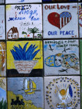 Painted Tiles Promoting Soviet-American Friendship  Wall of Peace on Ulitsa Arbat  Moscow  Russia