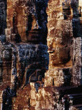 Stone Carvings of Face of Avalokiteshvara Decorating Towers of the Bayon  Angkor  Cambodia