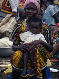Woman with Baby at Monday Market in Kong  Looking at Camera  Cote d'Ivoire