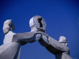 Detail of Reunification Memorial  Built in 2000  P&#39;Yongyang  North Korea