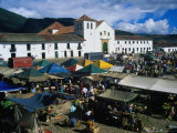 Market Held on Plaza Mayor with Parish Church in Background  Villa De Leyva  Boyaca  Colombia