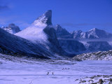 Treeking on Frozen Weasel River with Mt Thor at Left  Auyuittuq NP  Baffin Island  Nunavut  Canada