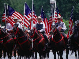 Equestrian Riders in 4th of July Parade on Constitution Avenue  Washington DC  USA