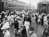 Japanese-American Internees Waiting to Board Train to Santa Anita  Los Angeles  c1942