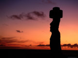 Ancient Moai at Ahu Ko Te Riku at Sunset  Easter Island  Valparaiso  Chile