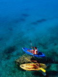 Couple on Sea Kayaks on Fernandez Bay  Cat Island  Bahamas