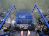 Feet Entering the Thermal Waters of Lake Balaton  Keszthely  Hungary