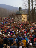 Crowds at Easter Passion Plays Near Krakow  Kalwaria Zebrzydowska  Poland