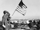 American Flag Bearer at Casablanca Conference  Morocco  c1943