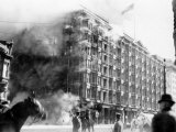 Palace Hotel on Fire after the Earthquake  San Francisco  California  c1906