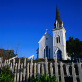 Town Church in Morning with Picket Fence in Front  Mendocino  USA