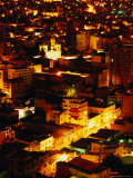 Iglesia De San Francisco and City from Cerro Quilli'Quilli at Night  La Paz  Bolivia
