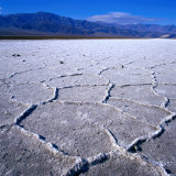 Patterned Salt Pan with Mountains in Distance  Death Valley National Park  USA
