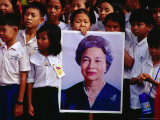 School Children with Portrait of Queen Sihanouk at Chat Preah Nengkal  Phnom Penh  Cambodia