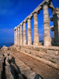 Superb Ruins of the 4th Century BC Temple of Poseidon on the Apollo Coast  Athens  Attica  Greece