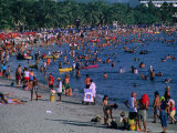 Beachgoers at El Rodadero in Seaside Suburb of Santa Marta During Holiday Season  Colombia