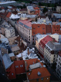 Streets and Buildings in Old Riga from St Peter&#39;s Church  Riga  Latvia