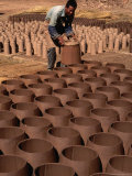 Man Drying Clay Pots and Tiles  Lijiang  China