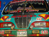 Colourful Old Bus on Plaza Mayor (Central Square)  Villa De Leyva  Boyaca  Colombia