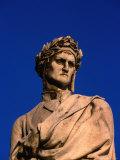 Detail of Statue of Poet Dante Alighieri in Piazza Di Santa Croce  Florence  Tuscany  Italy