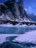 Mt Thor and Frozen Kettle Lake  Auyuittuq National Park  Baffin Island  Nunavut  Canada