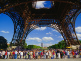 Tourists Queuing at Base of Eiffel Tower  Paris  France