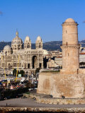 Historic Tower at Fort St Jean and Cathedral of the Major  Marseille  France