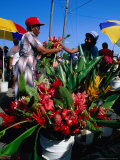 Selling Flowers at the Roseau Market  Roseau  Dominica