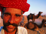Rajput Camel Driver at Pushkar Camel Fair  Looking at Camera  Pushkar  India