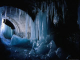 Icicles Inside Tunnel Between Two Small Alpine Villages  Tignes  France