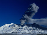 Clouds of Volcanic Ash Spewing from Crater of Mt Ruapehu  New Zealand