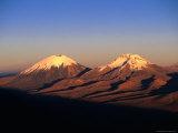 Volcanic Peaks of Mt Parincota and Mt Pomerata on the Chile/Bolivia Border  Oruro  Bolivia