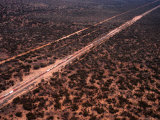 Trans-Continental Railway Line Crossing Outback  Australia