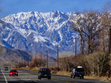 Highway 395 in Inyo County with the Eastern Sierras in Background  California  USA