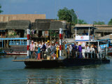 Loaded Passenger Ferry Crossing Canal in Mekong Delta  Chau Doc  an Giang  Vietnam